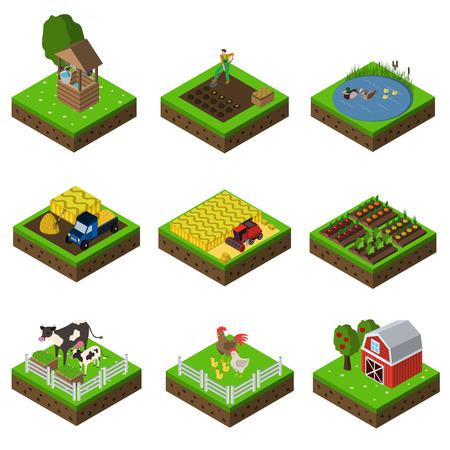 farm flat icon set Illustration