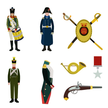 soldier equipment flat icon set