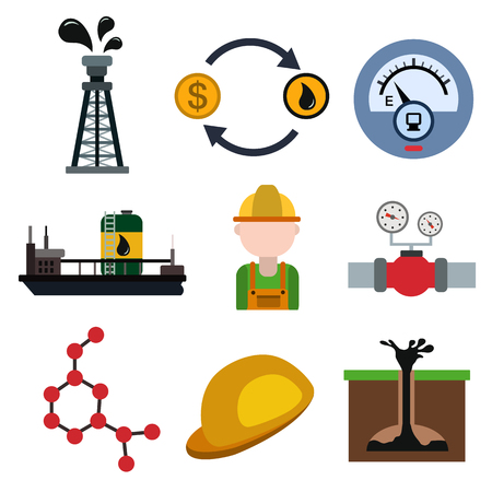 Oil industry flat icon set