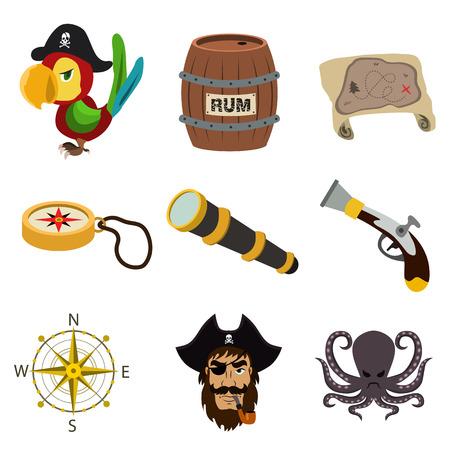 pirate flat icon set