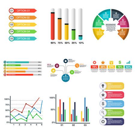 Infographic flat icon set Illustration