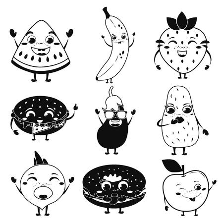 Animated food icon set vector illustration.