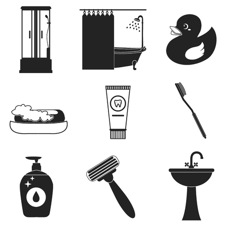 Bathroom amenities icon set.