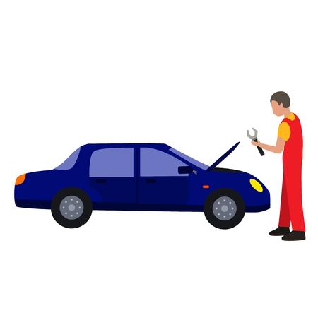 auto service flat icon Stock Illustratie