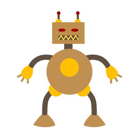 Flache Ikone des Roboters und der Robotik.