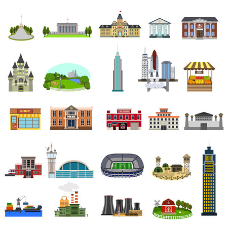 municipal buildings flat icon set