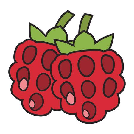 Berries in colored flat icon, cartoon illustration. Illustration