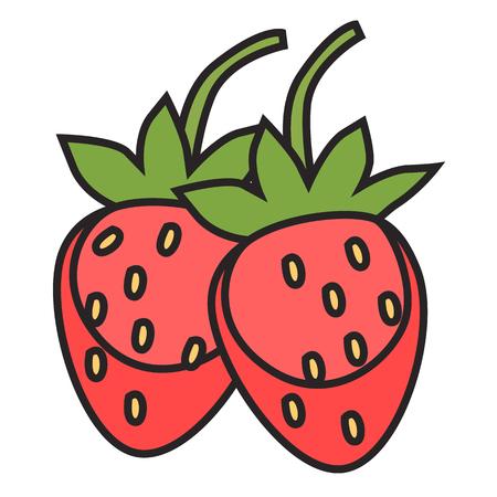 Berries in colored flat icon, cartoon illustration. Illusztráció