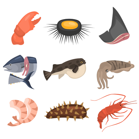 Seafood flat icon set in colored,  cartoon illustration.