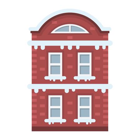 snow-covered house flat icon set Illustration