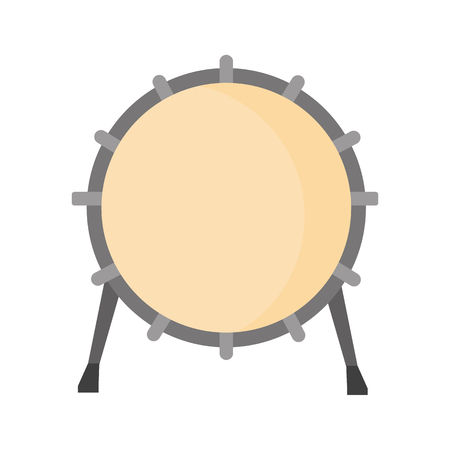 Tambourine color flat on plain background.