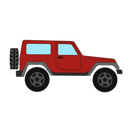 A Jeep színes sík a sima háttéren.