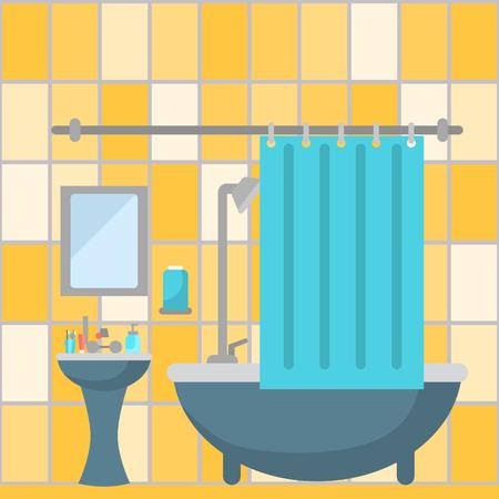Fürdőszoba színes lapos sima háttér. Illusztráció
