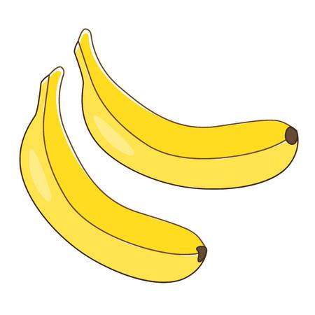 Banán színes lapos sima háttéren.