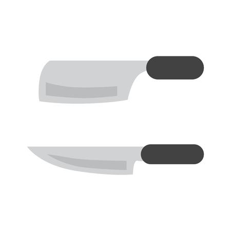 Konyhai kés színes lapos sima háttér.