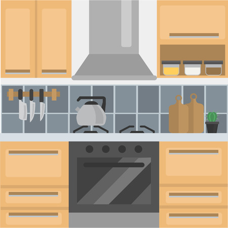 Kitchen color flat design with knife, kettle,  cutting board illustration.