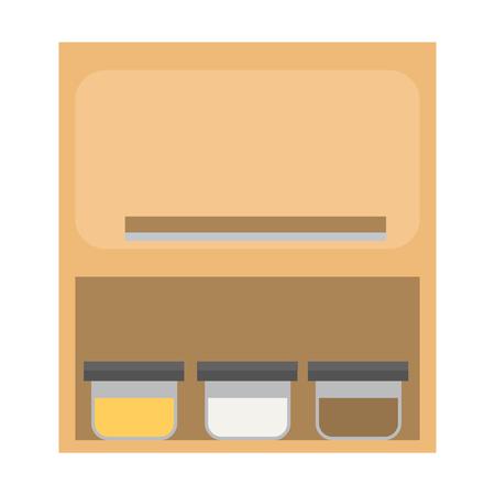 Kitchen hanging cupboard color flat design.