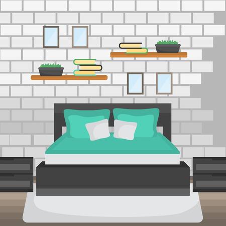 Bedroom color flat design with pillow, furniture illustration. Illusztráció