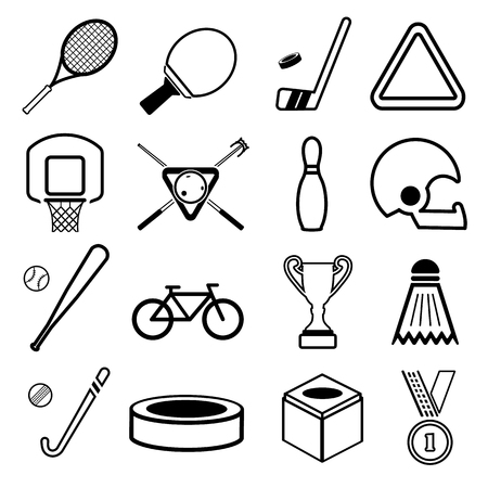 Sport equipment simple icon set Banque d'images - 93345542