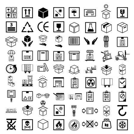 Box line simple icon set.