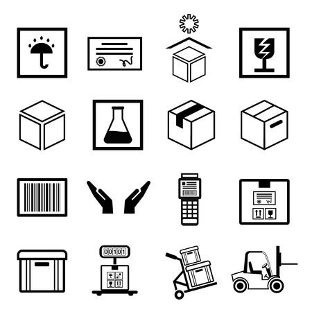 Box line simple icon set
