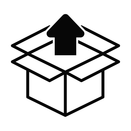 Box line simple icon isolated on white background. Ilustrace