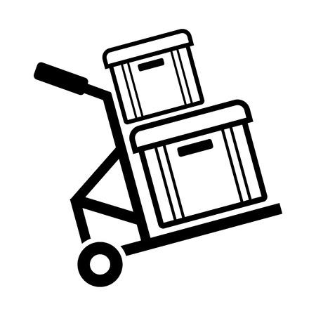 Box line simple icon isolated on white background. Ilustração