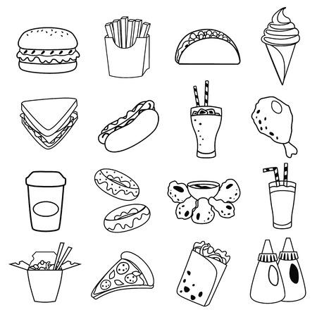 fast food line simple icon set Vector Illustration