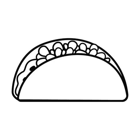 Fast food line taco icon