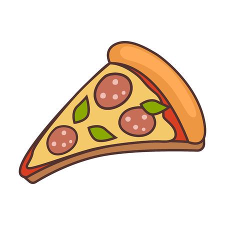 Pizza slice in colored illustration. Illustration