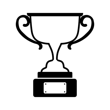 Trophy award in black and white illustration.
