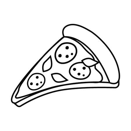 Pizza slice in outline, black and white illustration.