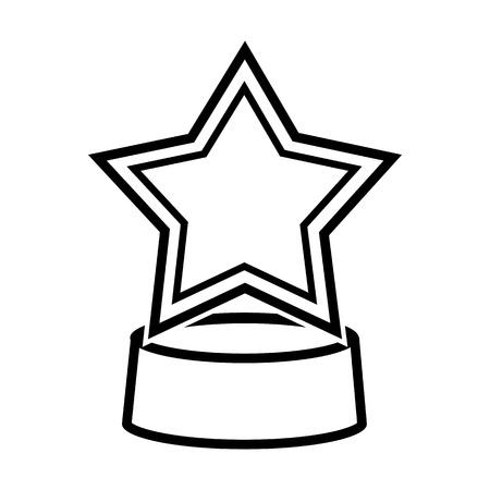 Trophy, award in outline illustration.