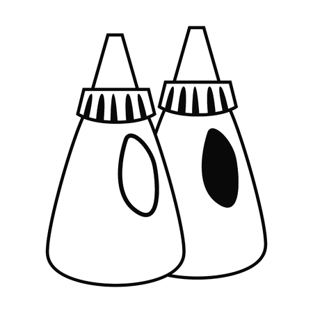 Condiments container in black and white illustration.