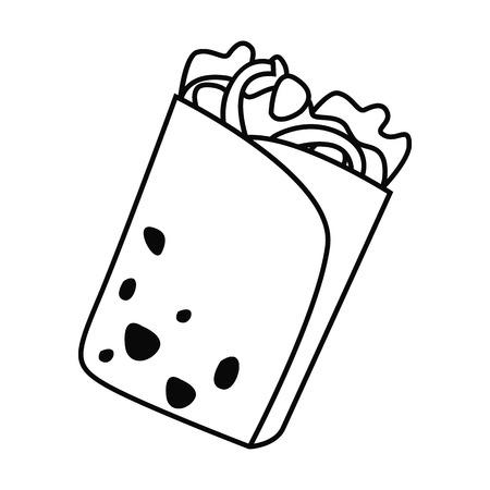 Fast food concept, shawarma in flat icon.