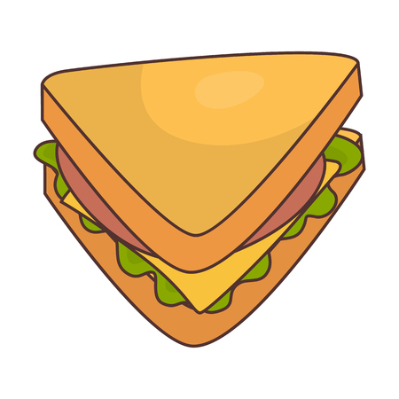 Fast food flat sandwich icon Vectores