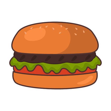 Fast food flat hamburger icon Illustration