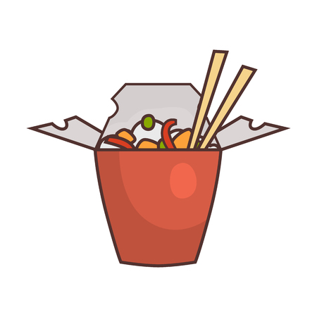 Fast food flat chinese food icon