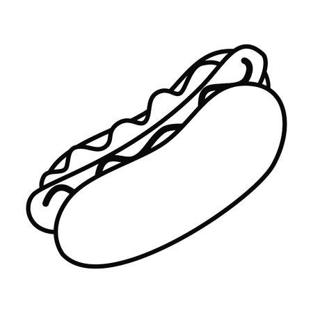 Fast food line hotdog sandwich icon