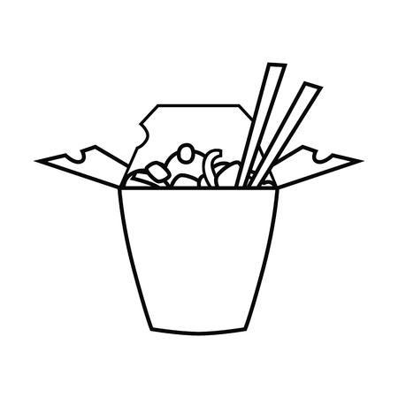 Fast food line chinese food icon Illustration