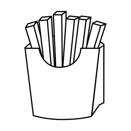 Fast food line french fries icon Illustration