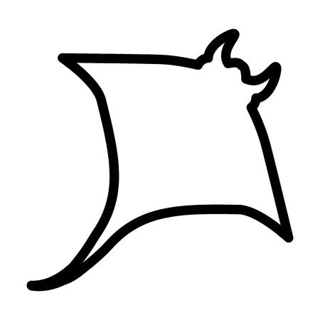 Un icono de línea de calambre de pescado aislado sobre fondo liso.