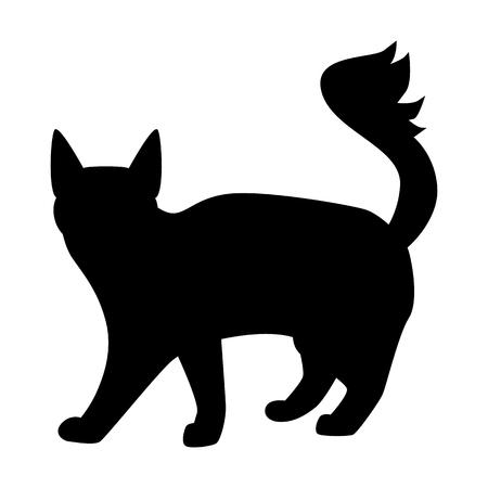 Cat black simple icon Vector illustration. Illustration