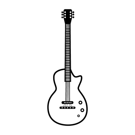 Electric guitar line simple vector icon illustration.