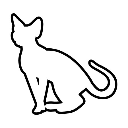 A Cat line simple icon isolated on plain background