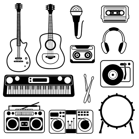 Musical instruments line simple icon set