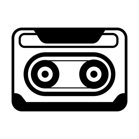 Music cassette line simple icon isolated on plain background
