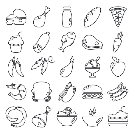 Set food line basic icons Vectores