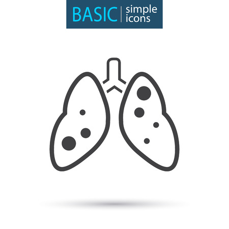 medical lung simple line icon Vectores