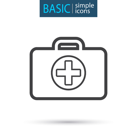 medical chest simple line icon Vector illustration. Vectores